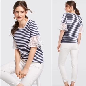 Draper James stripe top with bell sleeves